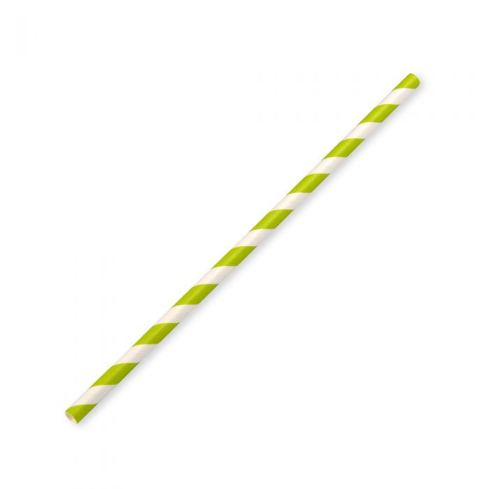 197X6MM GREEN STRIPE SMALL PAPER STRAWS