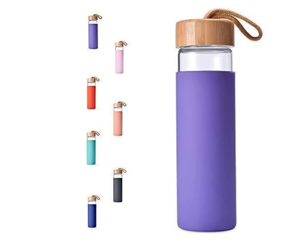 20oz Borosilicate Glass Water Bottle with Bamboo Lid and Silicone Sleeve