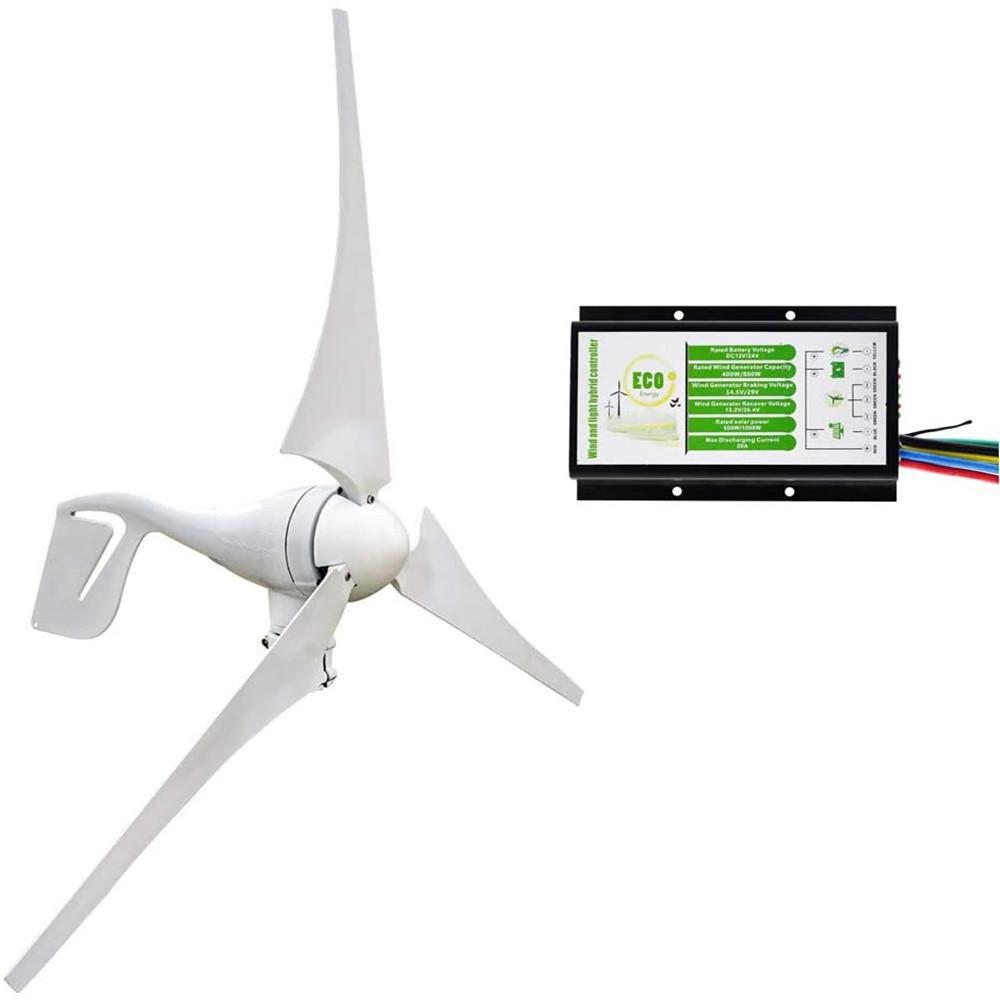 400W 12V/24V Wind Turbine Generator With 20A Hybrid Controller