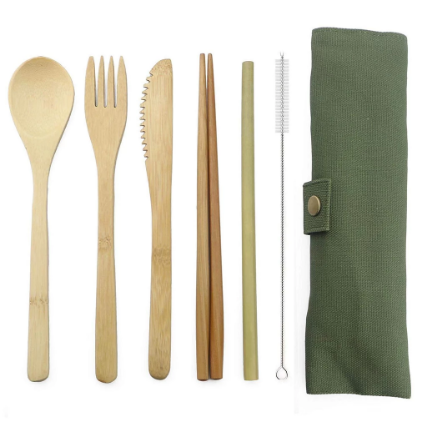 6Pcs/pack Wooden Cutlery Set Bamboo with Cloth bag