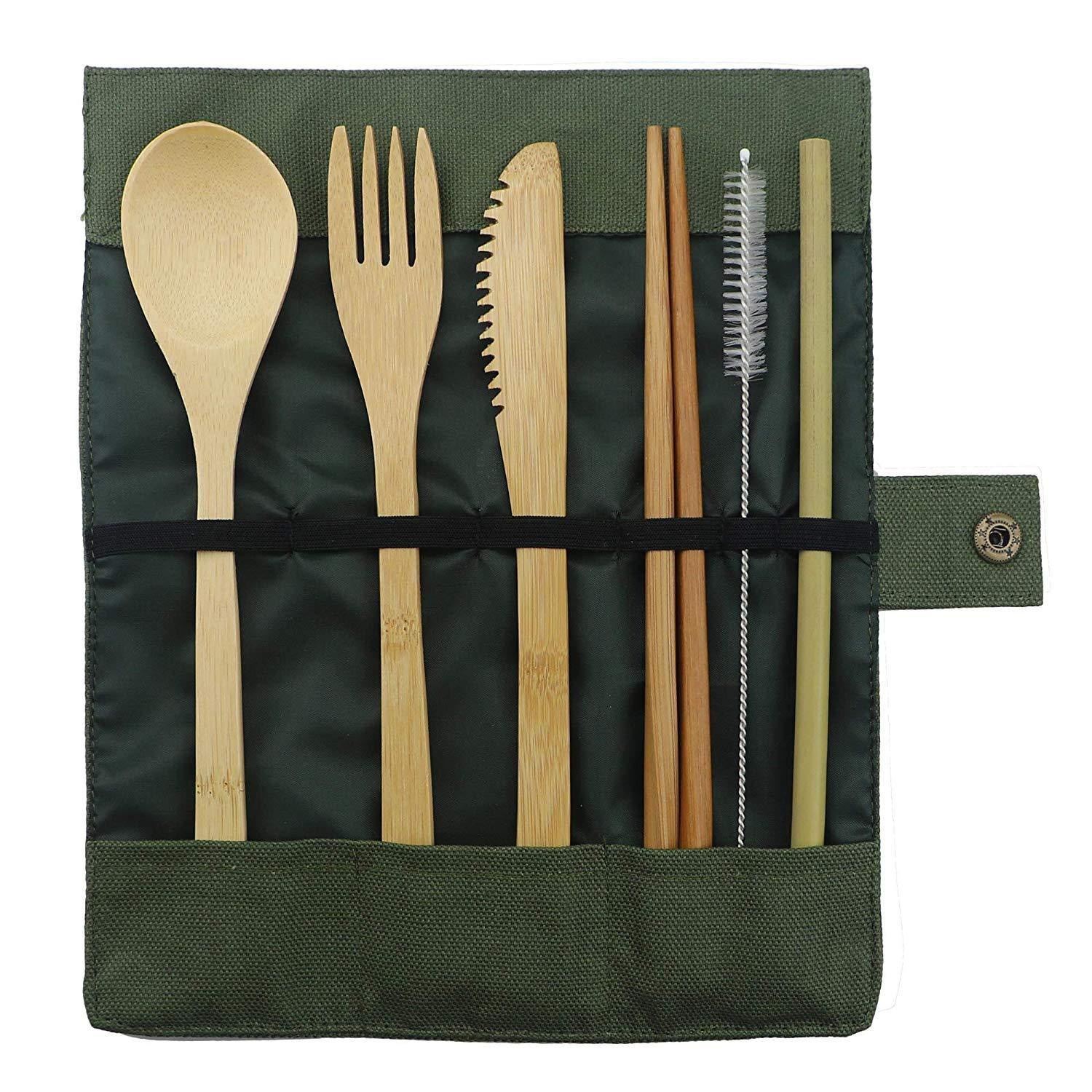 7-Piece Bamboo Travel Cutlery Set with Cloth Bag Knives Fork Spoon Chopsticks Straw