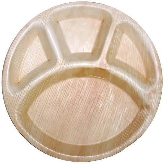 Areca Leaf Round Partition Plates