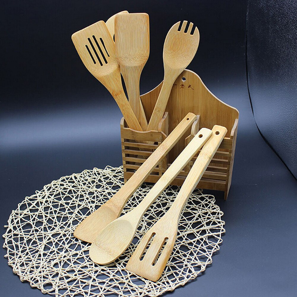 Assorted Bamboo Cooking Spatulas Set
