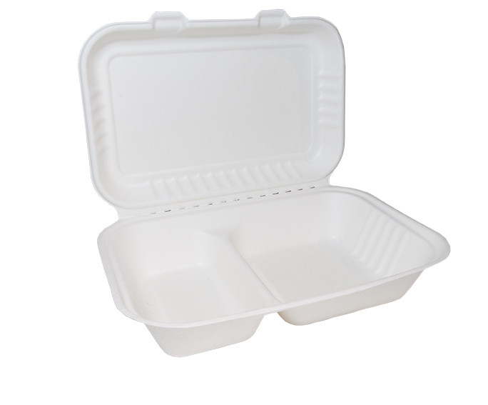 Bagasse Clamshell Large x 2 Compartments