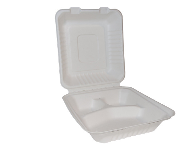 Bagasse Square Lunch Box x 3 Compartments