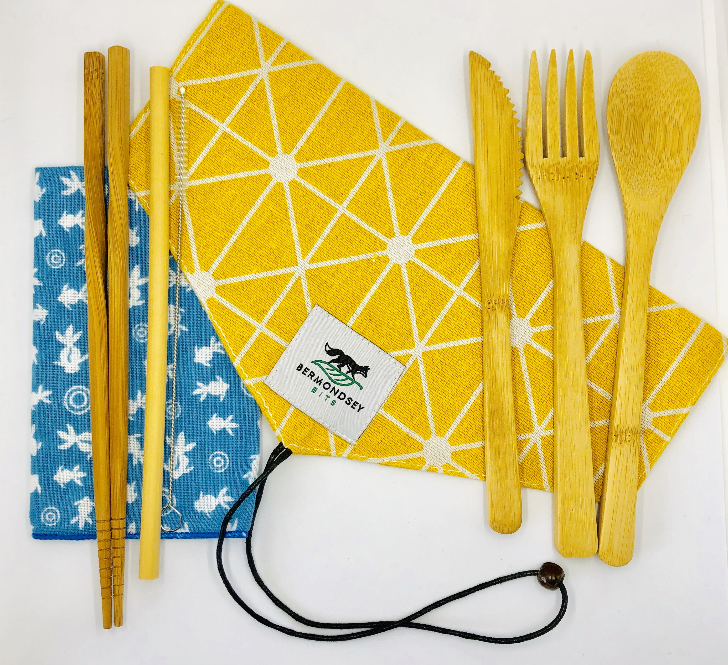 Bamboo cutlery set (8 pcs) including napkin and cutlery bag [Yellow]