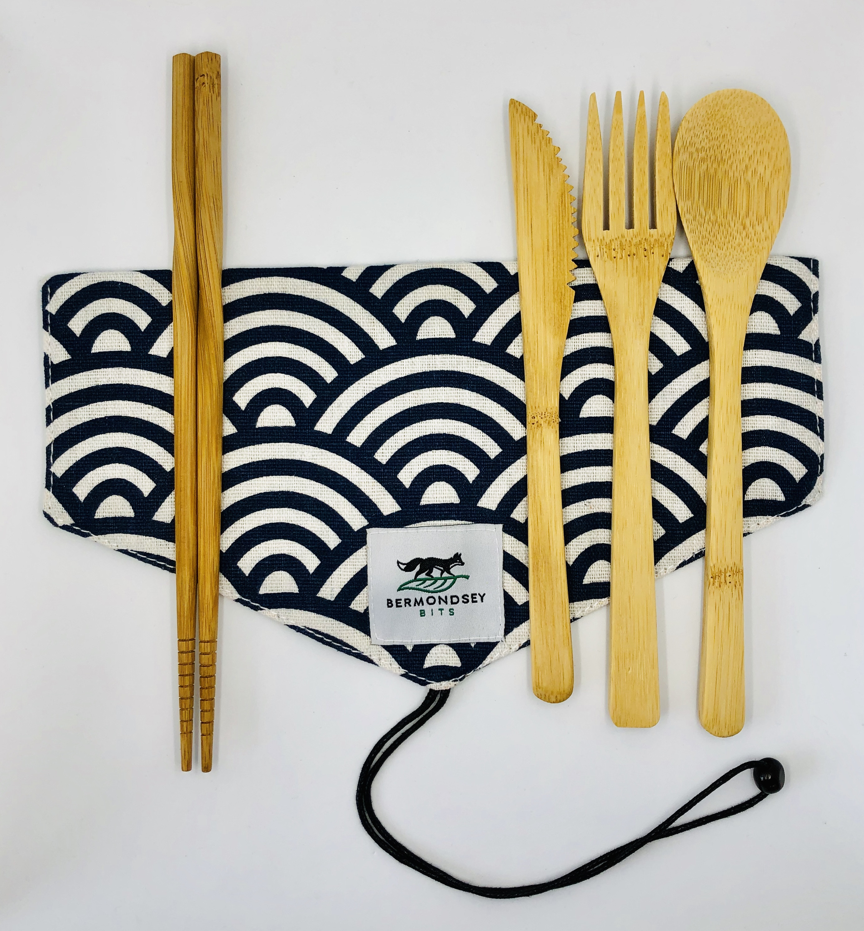 Bamboo Cutlery Set with a bag (no chopsticks) [Seigaiha]