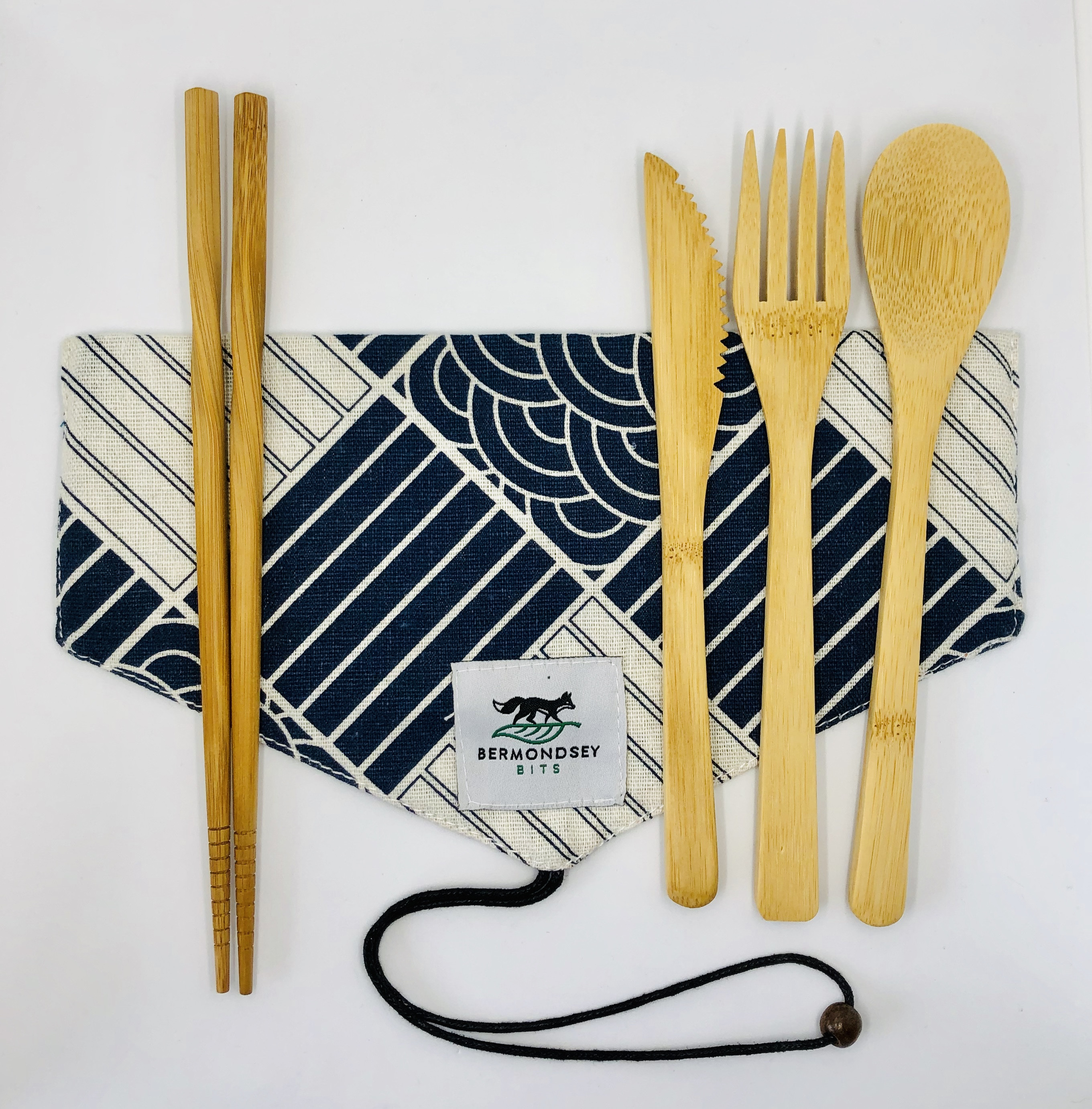 Bamboo Cutlery Set with a bag (no chopsticks) [Waves and Stripes]