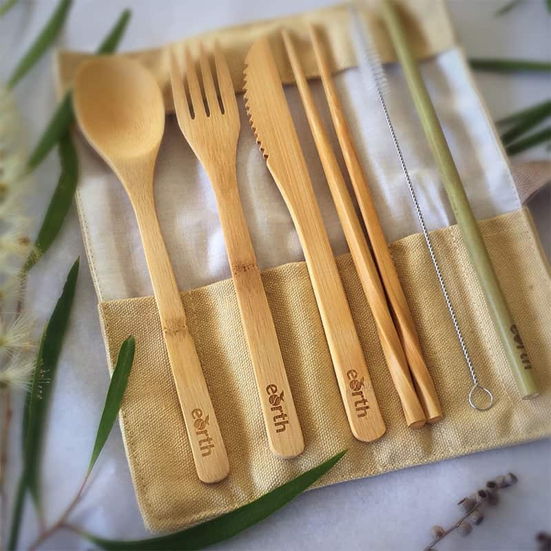 Bamboo Reusable Cutlery Set with Chopsticks & Straw