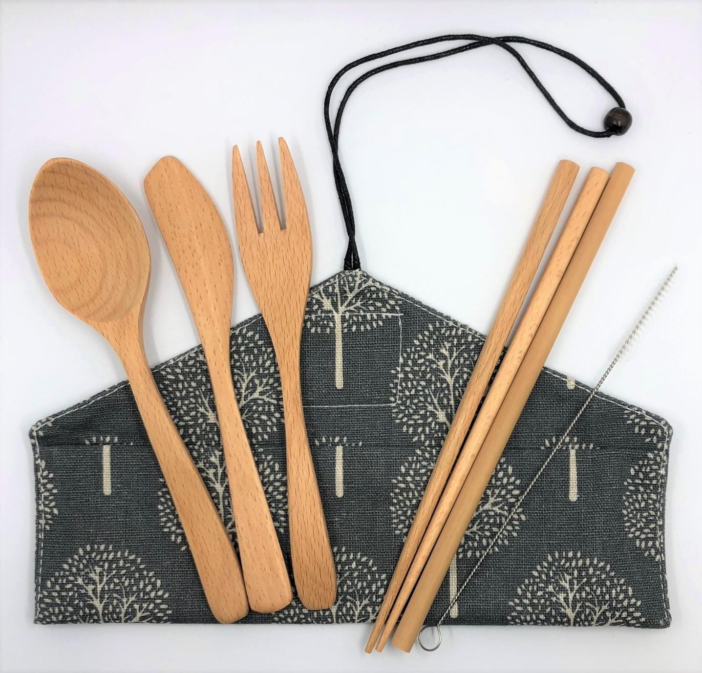 Beechwood Cutlery Set [Grey Trees]