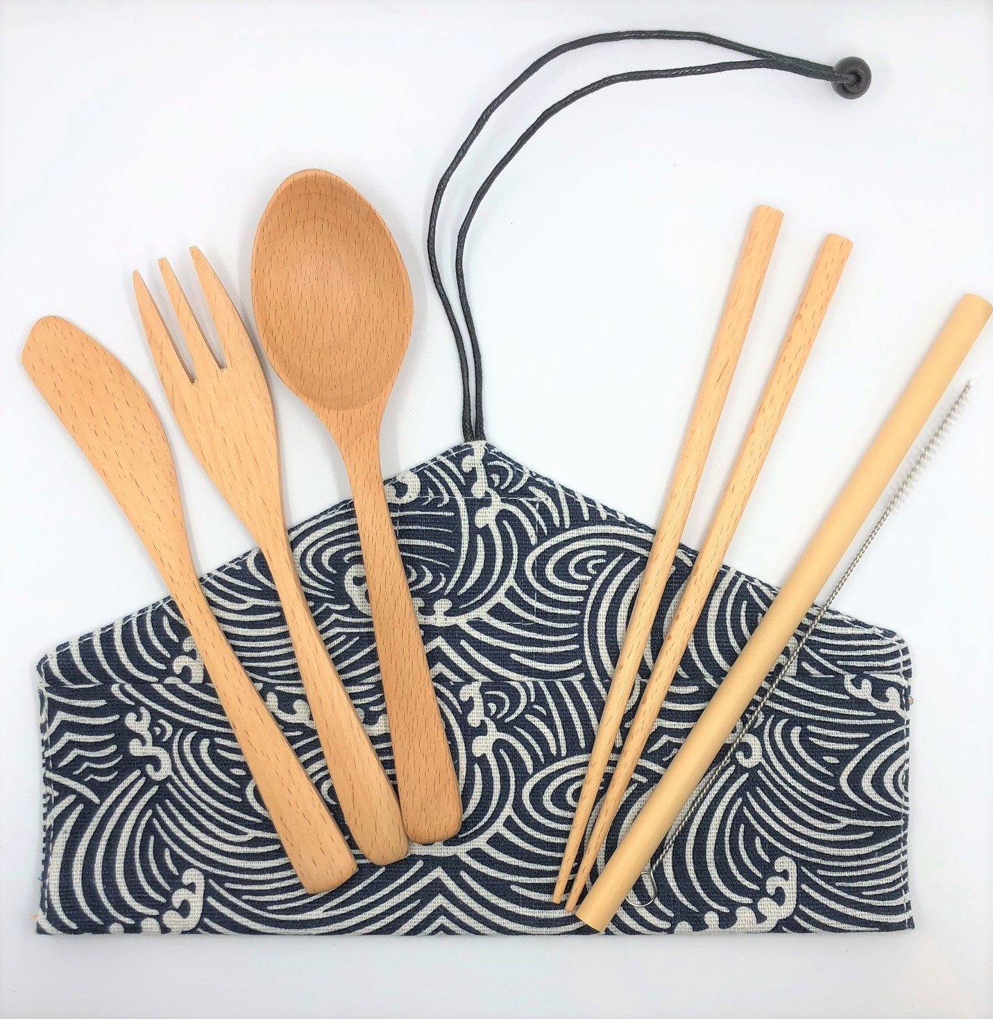 Beechwood Cutlery Set [Waves]