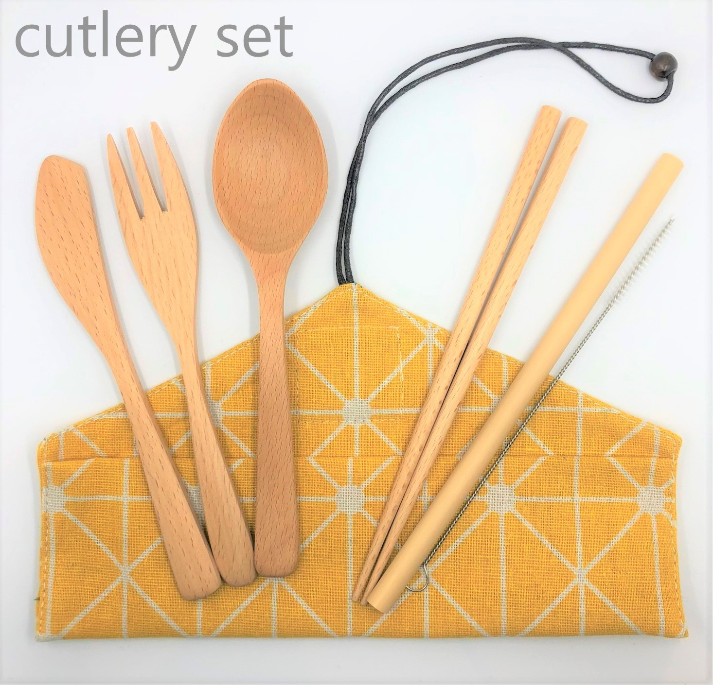 Beechwood Cutlery Set [Yellow]