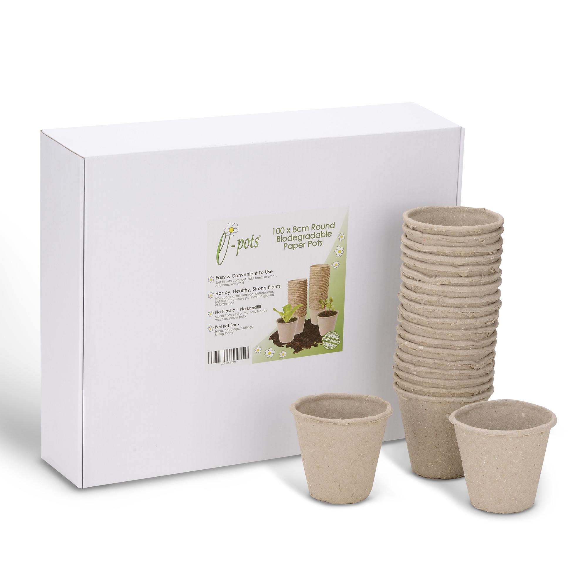 100 8cm Biodegradable Plant Pots