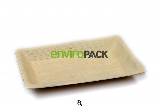 Biodegradable Rectangular Palm Leaf Plate 16x24cm Natural