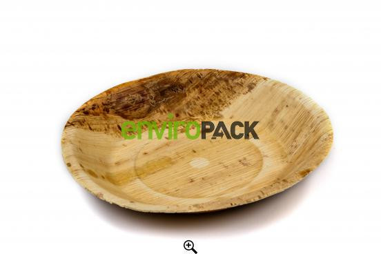 Biodegradable Round Palm Leaf Bowl 18cm Natural