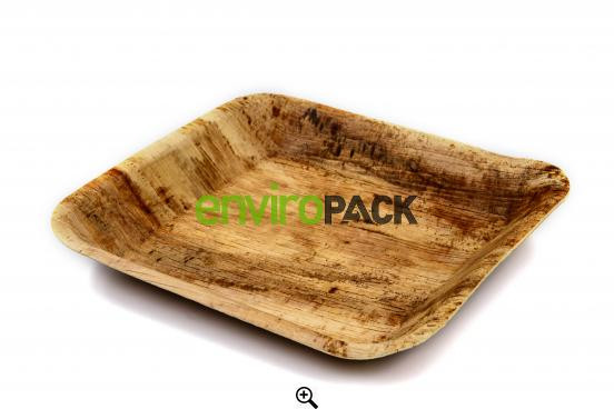 Biodegradable Square Palm Leaf Plate 17x17cm Natural