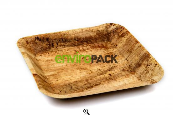 Biodegradable Square Palm Leaf Plate 24x24cm Natural