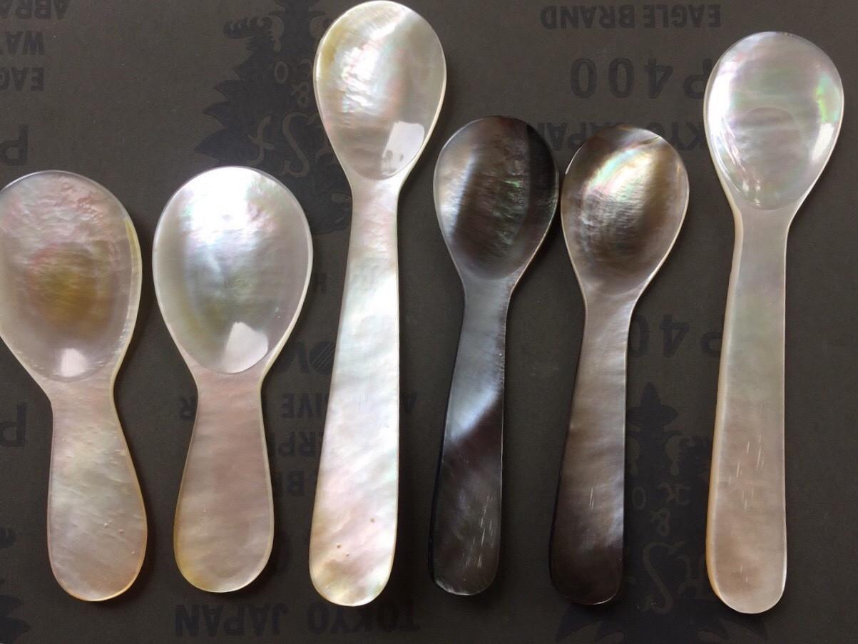Black Mother of pearl spoon, caviar spoon CS63