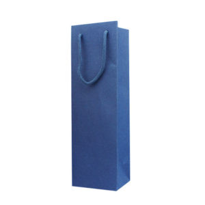 Blue Paper Bag For Wine With Rope Handles