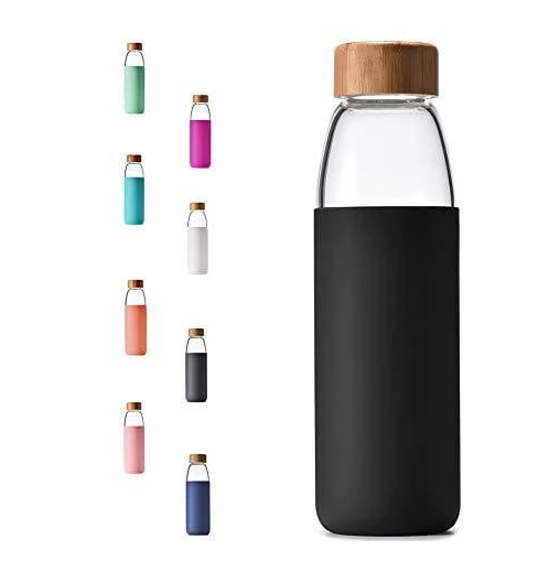 Borosilicate Glass Water Bottle with Bamboo Lid and Protective Sleeve