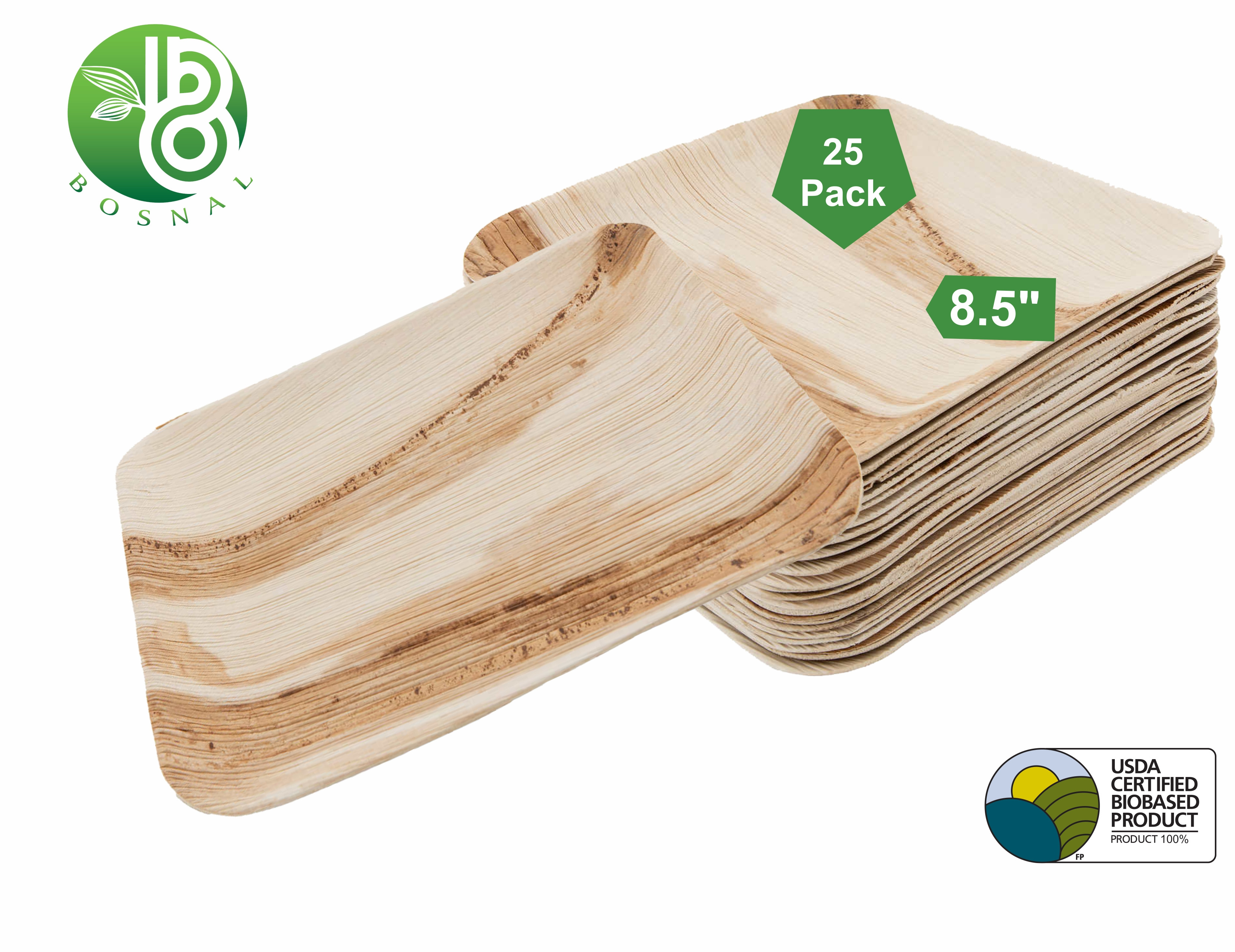 Bosnal 8.5 inch Square Palm Leaf Biodegradable Bamboo and Wood Style Plates, 25 Pcs