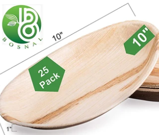 Bosnal 10 inch Stackable Oval Palm Leaf Biodegradable Plates, 25 Pcs