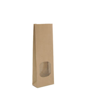 Brown Block Bottom Paper Bags With Window