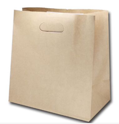 Brown Paper Bags With Die-Cut Handle (Reinforced Base)