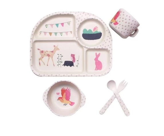 Children's Compartment Bamboo Fiber Tableware