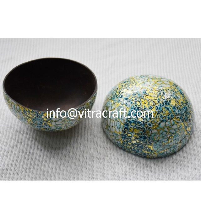 Coconut Bowl Inlayed with Egg – Blue – CB20