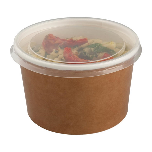 Colpac Recyclable Kraft Salad Pots With Lid (Pack of 150)