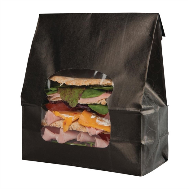 Colpac Recyclable Paper Sandwich Bags With Window Black (Pack of 250)