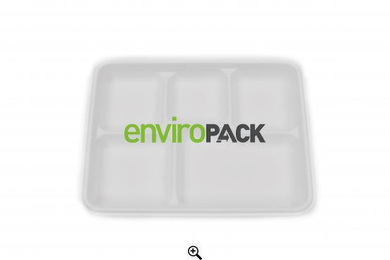 Compostable 5 compartment Bagasse Plate White