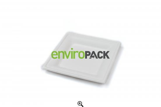 Compostable Square Bagasse Plate 15x15cm White