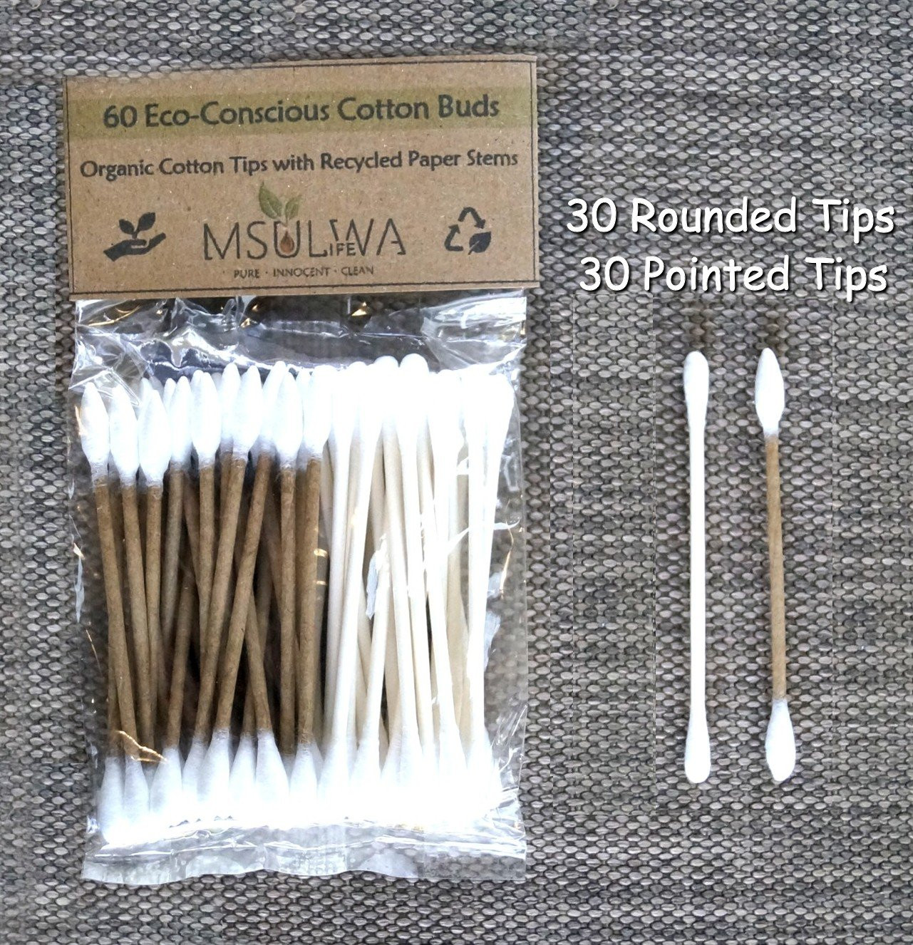 Cotton Buds (Organic Tips with Recycled Paper Stems)