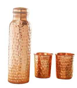 Designer Copper Water Bottle With 2 Glass