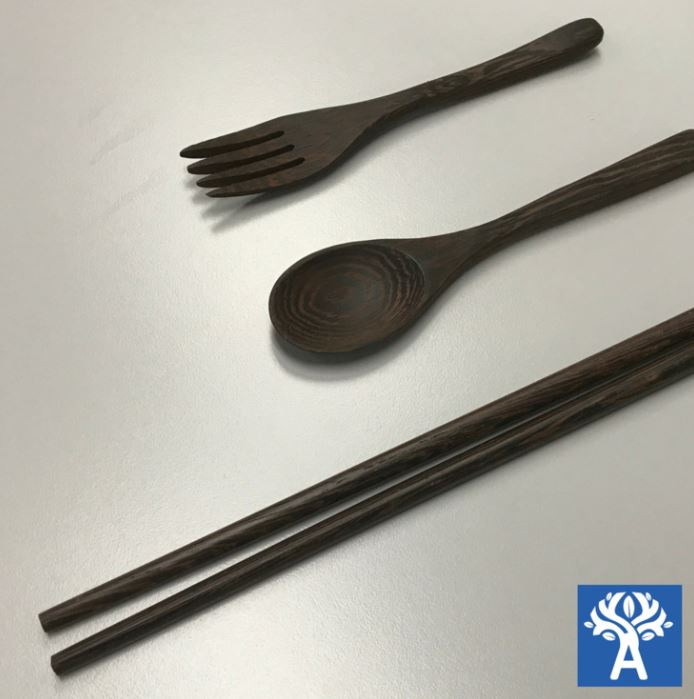 Ebony Wood Chopsticks (1 pair), Fork and Spoon