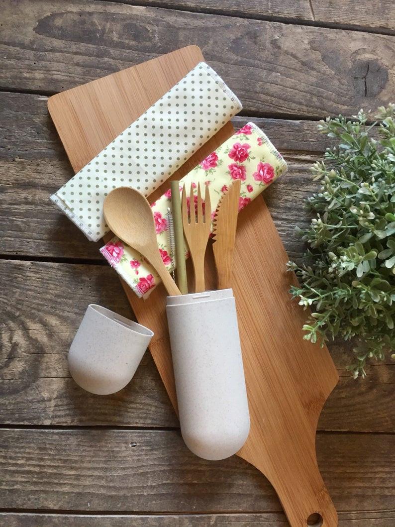 Eco Bamboo Cutlery Set, Bamboo Straw + Organic Bamboo Cotton Napkin Cloth Wipe