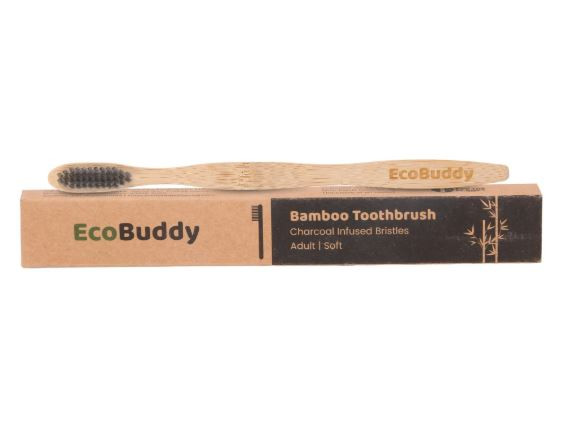 Eco Buddy Charcoal Infused Extra Soft Bristles Bamboo Toothbrushes- Pack of 4