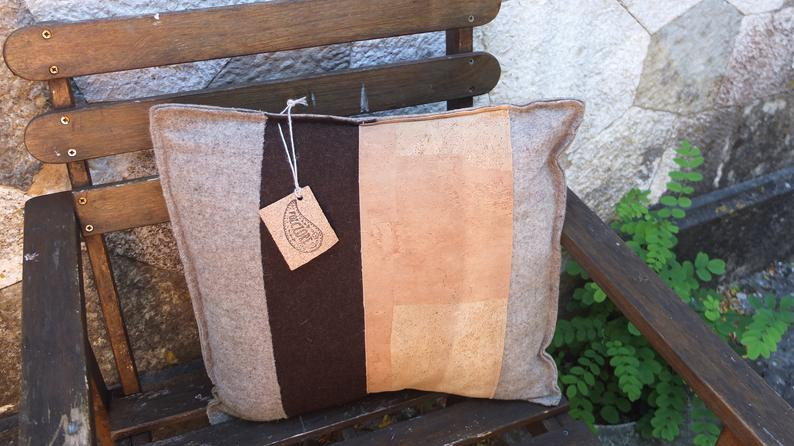 Eco-friendly Cork fabric pillow cover with boiled wool
