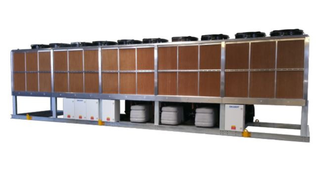 Evaporatively-cooled chiller range