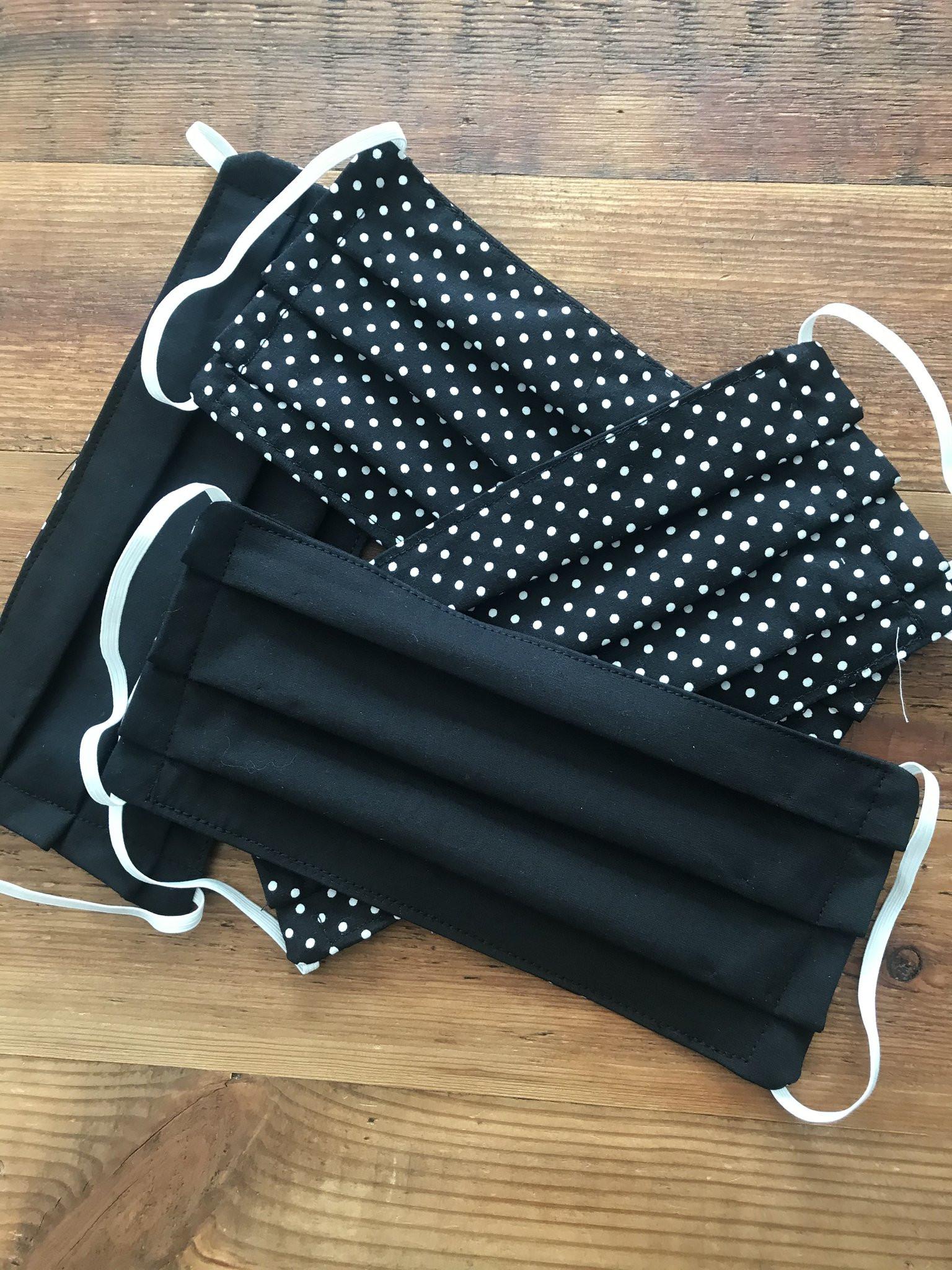 Face Mask Black and Polka dot- Reusable & Washable