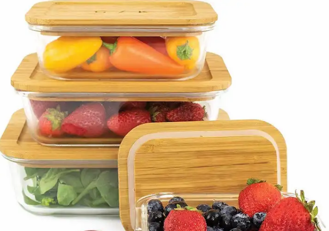 Sustainable Glass Food Storage Containers with Bamboo Lids