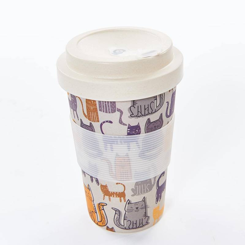 GREY FUNKY CAT BAMBOO CUP PACK OF 3