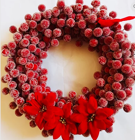"Hand Crafted 11"" Frosted Berry Holiday Wreath"