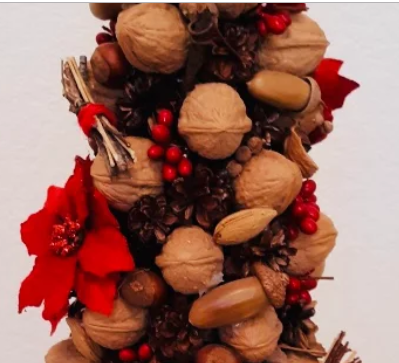 "Hand Crafted Holiday Nut & Pine Cone 21"" Tree"