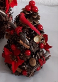 Hand Crafted Pine Cone and Berries Holiday Trees Set of 3