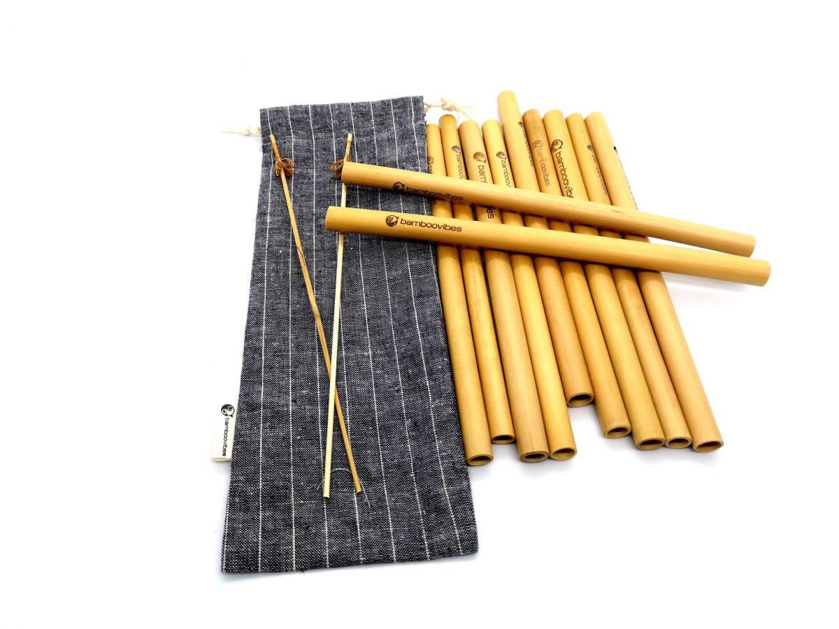 Handmade Bamboo Straws Travel Set of 12