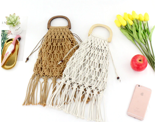 Handmade Cotton Woven Wood Handle Handbag
