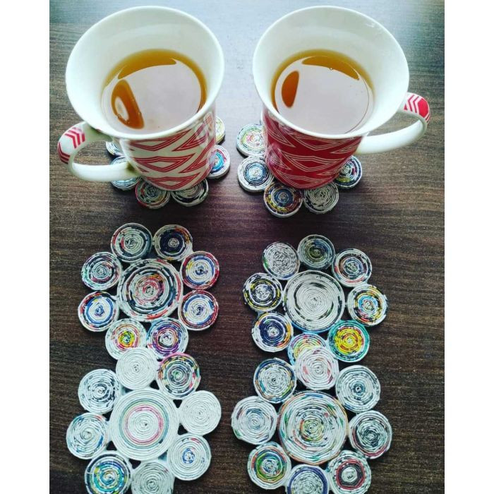 Handmade Upcycled Paper Flower Coasters